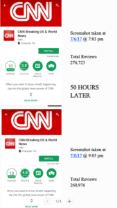 Manipulating CNN App reviews in the Playstore